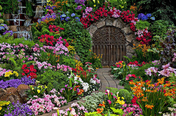 Flowers Print featuring the photograph Wine Celler Gates by Garry Gay