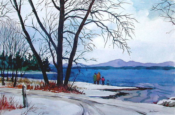Winter Art Print featuring the painting Winter At The Lake by Faye Ziegler
