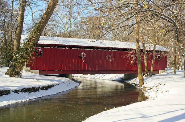 Covered Bridge Art Print featuring the photograph Winter Bridge by Margie Wildblood
