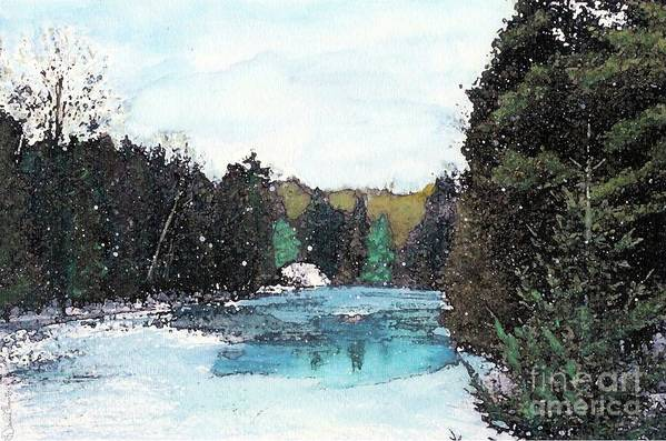 River Art Print featuring the mixed media Winter In Kalkaska by Desiree Paquette