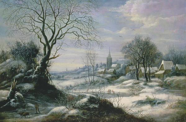 Winter Art Print featuring the painting Winter Landscape by Daniel van Heil