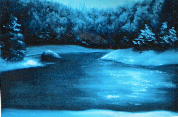 Nature Art Print featuring the painting Winter Pond by Felix Turner