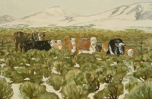 Animals Art Print featuring the painting Winter Range by Janos Szatmari