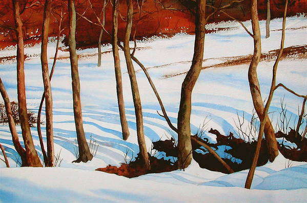 Landscape Art Print featuring the painting Winter Shadows by Faye Ziegler