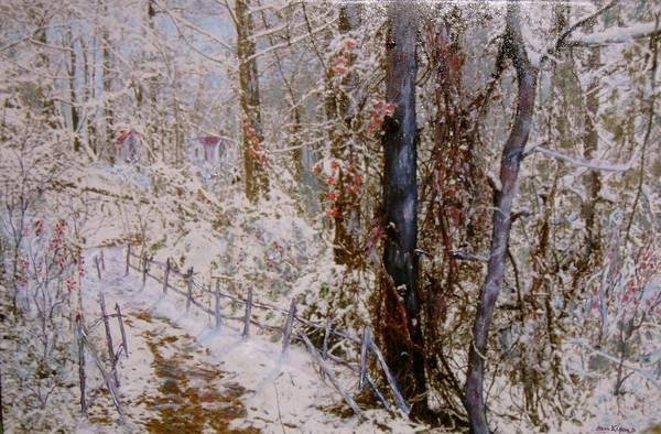 Snow; Trees Art Print featuring the painting Winter Wonderland by Ben Kiger