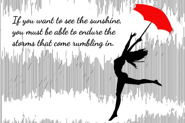 Woman Dancing In The Rain Inspirational Quote Art Print By Serena King