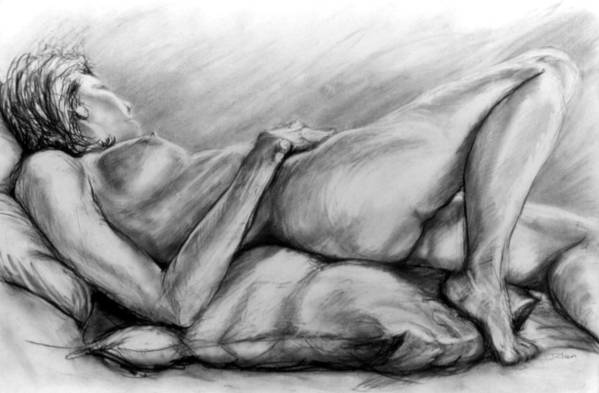 Woman Art Print featuring the drawing Woman Resting by John Clum