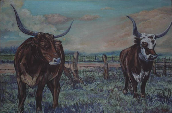 Animals Art Print featuring the painting Wright Longhorns by Diann Baggett