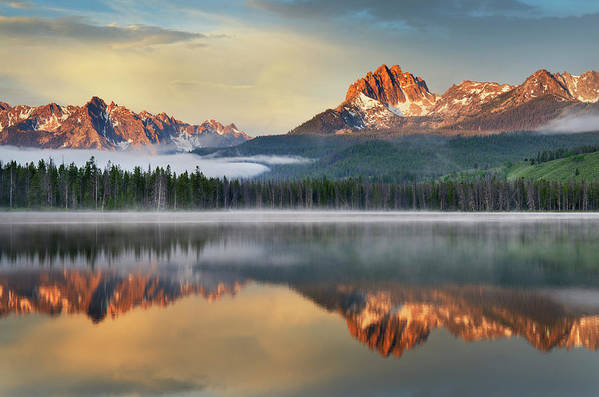 Scenics Art Print featuring the photograph Little Redfish Lake, Sawtooth Mountains by Alan Majchrowicz