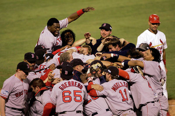 Celebration Art Print featuring the photograph World Series Red Sox V Cardinals Game 4 by Stephen Dunn