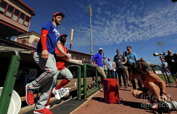 Working Art Print featuring the photograph Philadelphia Phillies Bryce Harper 4 by Mike Ehrmann