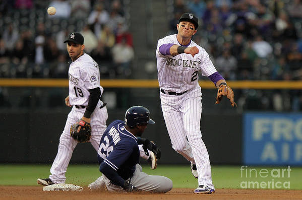 Double Play Art Print featuring the photograph San Diego Padres V Colorado Rockies by Doug Pensinger