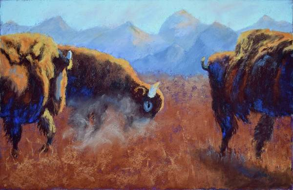 Bison Art Print featuring the painting Big Thunder by Nancy Jolley