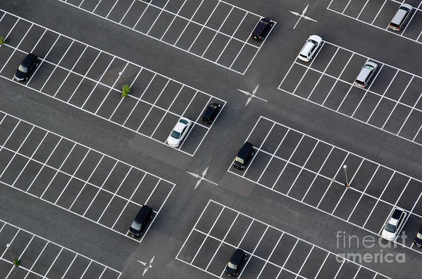 Area Art Print featuring the photograph Car Park Seen From Above With Many by Andreas Altenburger