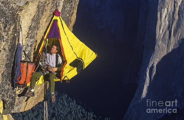 Dangle Art Print featuring the photograph Climber In His Hanging Camp Sleeps On by Greg Epperson