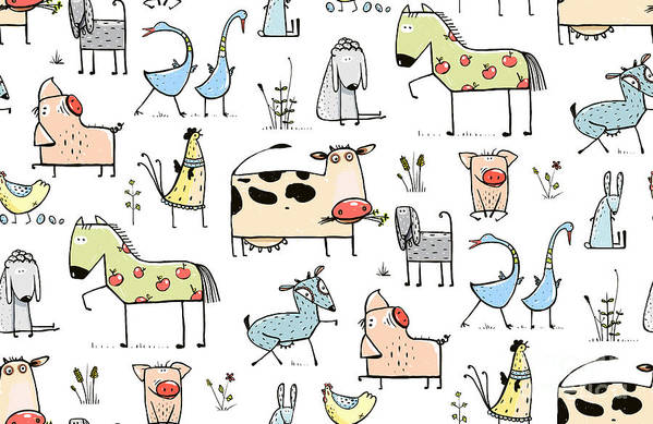 Country Art Print featuring the digital art Funny Cartoon Village Domestic Animals by Popmarleo