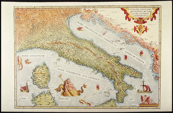 Italy Map 1500.Map Of Italy In 1500 Art Print By Fototeca Gilardi