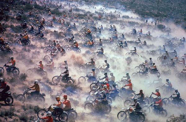 Crash Helmet Art Print featuring the photograph Mint 400 Motocross Race by Bill Eppridge