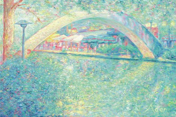 Walking Bridge Art Print featuring the painting San Antonio Riverwalk by Felipe Adan Lerma