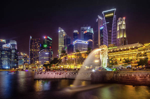 Singapore Art Print featuring the photograph Singapure At Night by Markus Hermannsdorfer