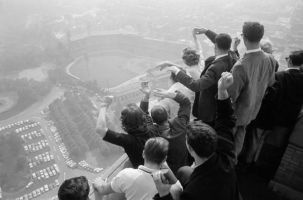 Timeincown Art Print featuring the photograph Univ. Of Pittsburgh Students Cheering Wi by George Silk