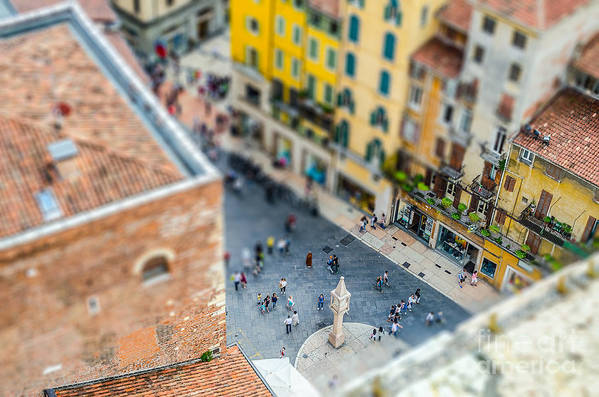 City Art Print featuring the photograph View Over Piazza Delle Erbe Markets by Marco Rubino