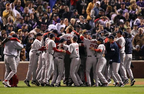 Scoring Art Print featuring the photograph World Series Boston Red Sox V Colorado by Stephen Dunn