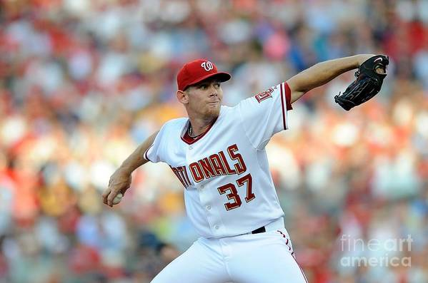 Stephen Strasburg Art Print featuring the photograph Stephen Strasburg by G Fiume