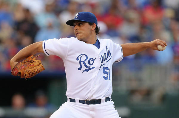 American League Baseball Art Print featuring the photograph Jason Vargas by Ed Zurga