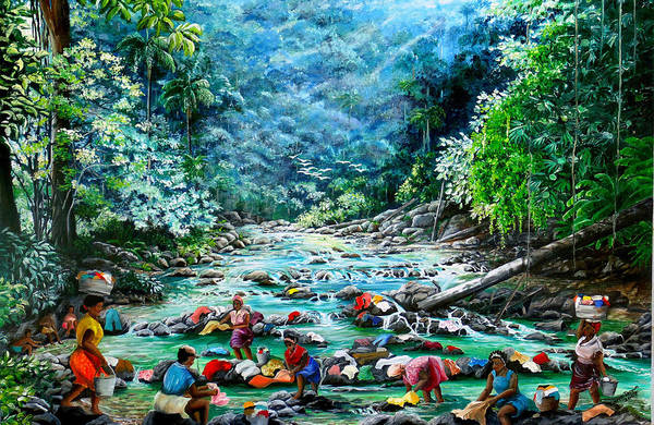 Land Scape Painting River Painting Mountain Painting Rain Forest Painting Washerwomen Painting Laundry Painting Caribbean Painting Tropical Painting Village Washer Women At A Mountain River In Trinidad And Tobago Art Print featuring the painting Caribbean Wash Day by Karin Dawn Kelshall- Best