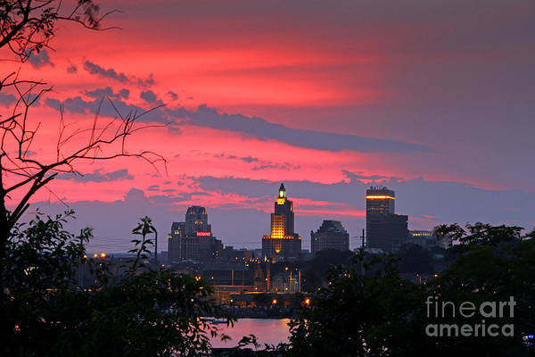 Sunset Art Print featuring the photograph                            4th Of July Sunset Providence Ri by Butch Lombardi