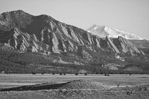 Scenic Art Print featuring the photograph Colorado Rocky Mountains Flatirons With Snow Covered Twin Peaks by James BO Insogna