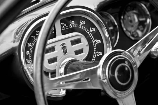 1953 Fiat 8v Ghia Supersonic Steering Wheel Art Print featuring the photograph 1953 Fiat 8v Ghia Supersonic Steering Wheel by Jill Reger