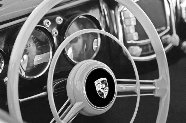 1954 Porsche 356 Bent-window Coupe Steering Wheel Emblem Art Print featuring the photograph 1954 Porsche 356 Bent-window Coupe Steering Wheel Emblem by Jill Reger