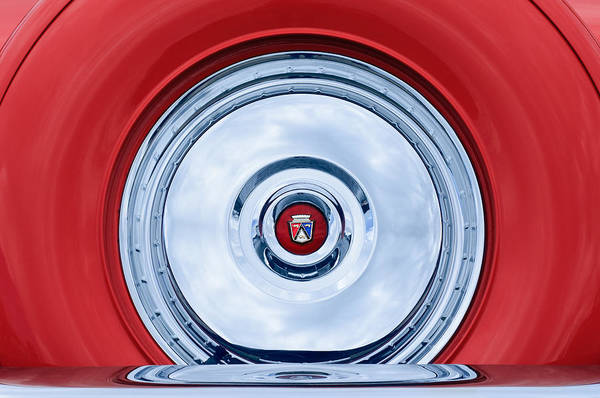 1956 Ford Thunderbird Spare Tire Emblem Art Print featuring the photograph 1956 Ford Thunderbird Spare Tire Emblem by Jill Reger