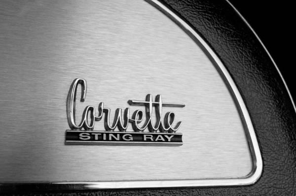 1967 Chevrolet Corvette Glove Box Emblem Art Print featuring the photograph 1967 Chevrolet Corvette Glove Box Emblem by Jill Reger