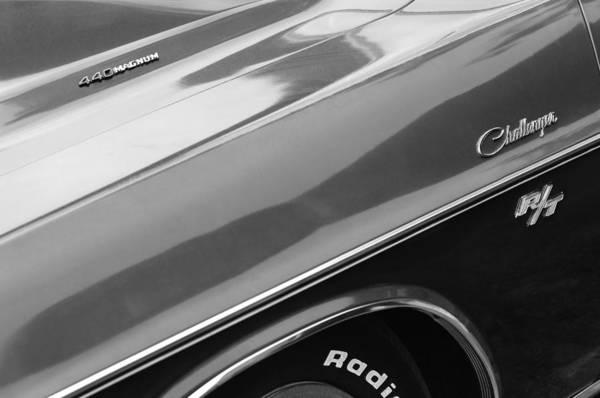 1970 Dodge Challenger Rt Convertible Emblems Art Print featuring the photograph 1970 Dodge Challenger Rt Convertible Emblems by Jill Reger