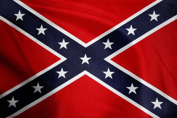 American Art Print featuring the photograph Confederate Flag 5 by Les Cunliffe