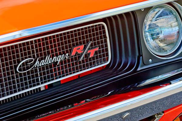 Dodge Challenger Rt Grille Emblem Art Print featuring the photograph Dodge Challenger Rt Grille Emblem by Jill Reger