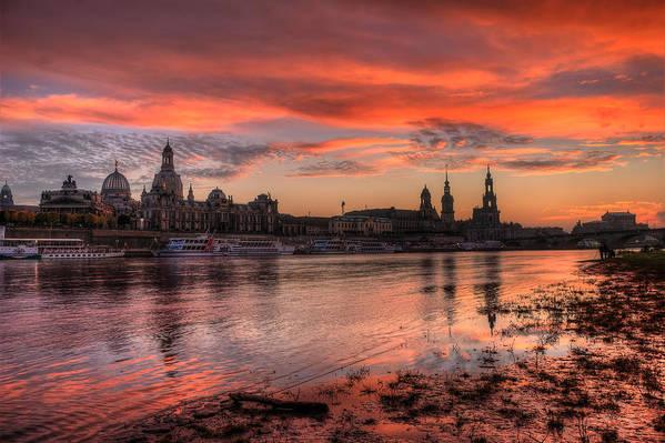 Dresden Art Print featuring the pyrography Dresden Sunset by Steffen Gierok