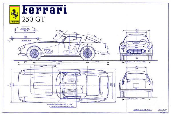 Ferrari 250 gt blueprint art print by jon neidert ferrari 250 gt blueprint art print featuring the drawing ferrari 250 gt blueprint by jon neidert malvernweather Gallery