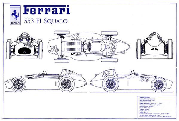 Ferrari 553 f1 squalo blueprint art print by jon neidert ferrari 553 f1 squalo art print featuring the photograph ferrari 553 f1 squalo blueprint by jon malvernweather Gallery