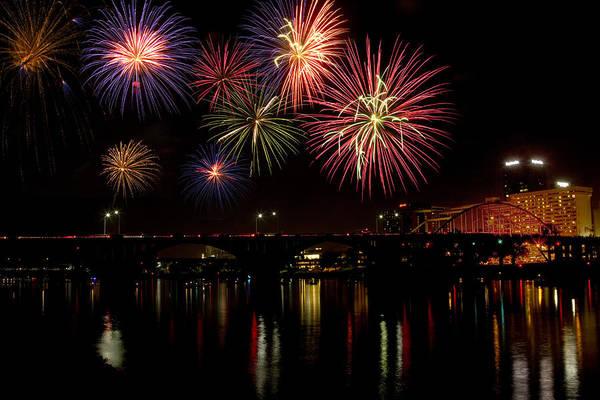 Broadway Bridge Art Print featuring the photograph Fireworks Over The Broadway Bridge by Robert Camp
