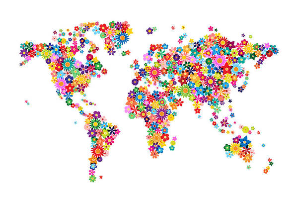 World Map Art Print featuring the digital art Flowers Map Of The World Map by Michael Tompsett