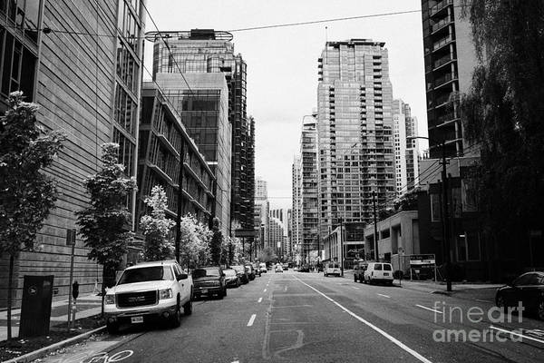 High-rise Art Print featuring the photograph high rise apartment condo blocks in the west end west pender street Vancouver BC Canada by Joe Fox