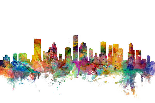 united States Art Print featuring the digital art Houston Texas Skyline by Michael Tompsett