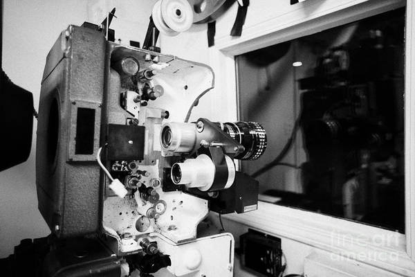 Old Art Print Featuring The Photograph Lenses On Film Projector In Cinema Projection Room