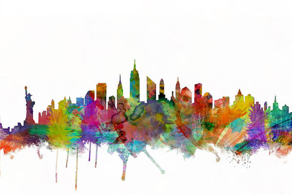 New York Art Print featuring the digital art New York City Skyline by Michael Tompsett