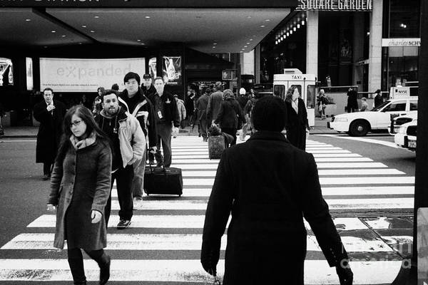 Usa Art Print featuring the photograph Pedestrians Crossing Crosswalk Carrying Luggage On Seventh 7th Ave Avenue by Joe Fox