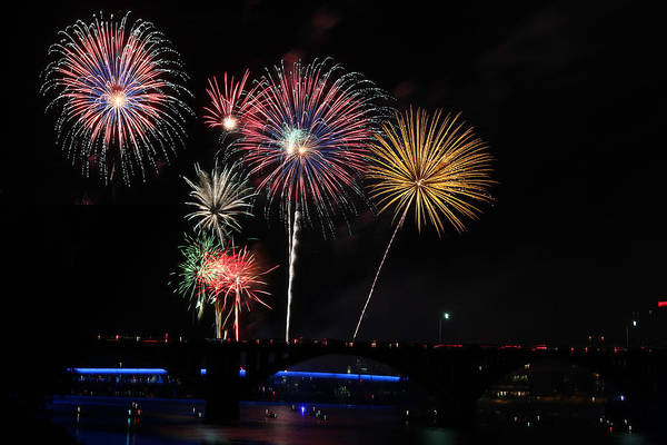 Fireworks Art Print featuring the photograph Pops On The River Fireworks by Robert Camp